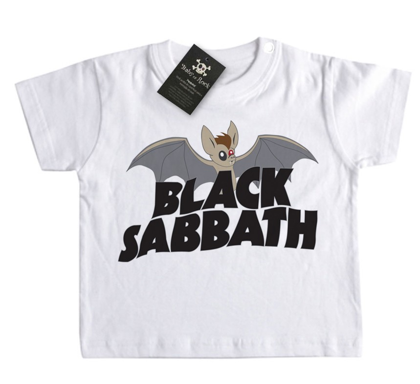 Camiseta Bebê Black Sabbath Morcego  - White  - Baby Monster S/A