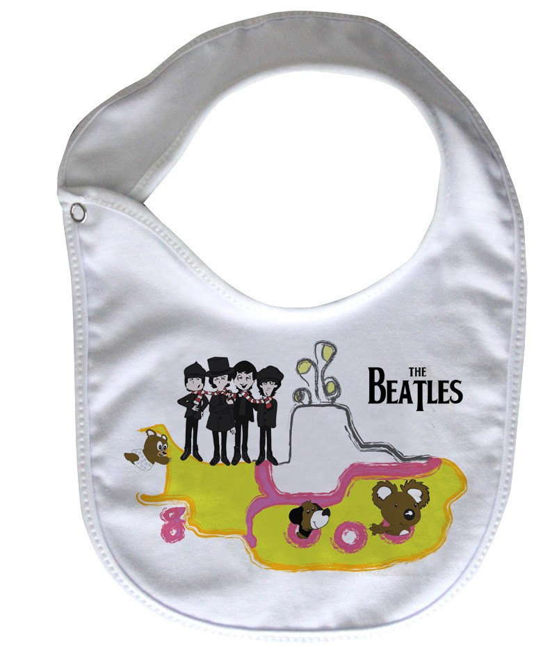 Babador  Rock Baby  - Beatles Yellow Submarino - White  - Baby Monster S/A