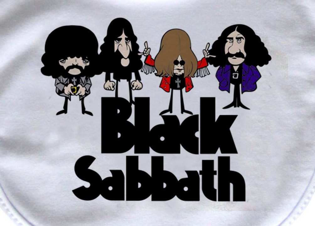 Babador  Rock Baby  - Black Sabbath Caricature - White  - Baby Monster - Body Bebe