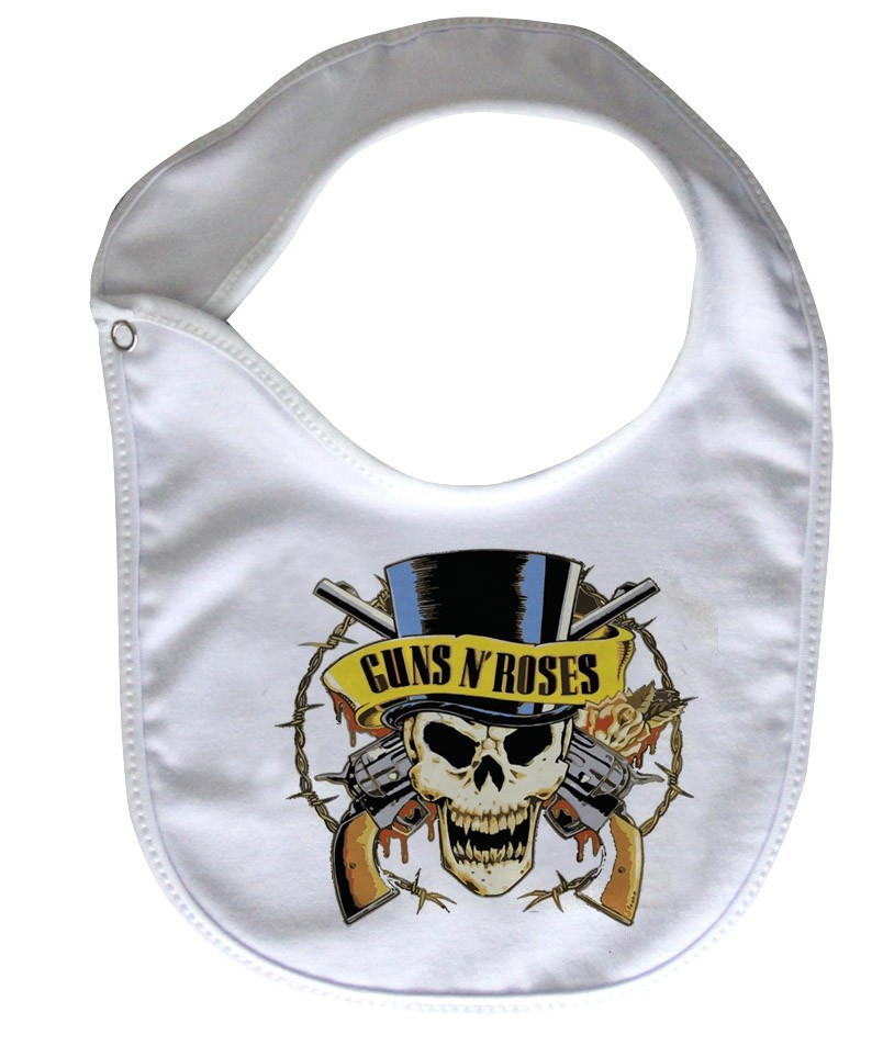 Babador  Rock Baby  - Guns n Roses - White - Baby Monster - Body Bebe