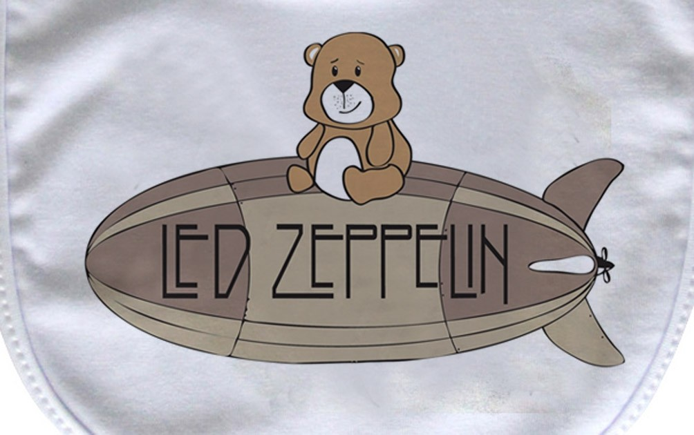 Babador  Rock Baby  - Led Zeppelin Cute - White  - Baby Monster - Body Bebe