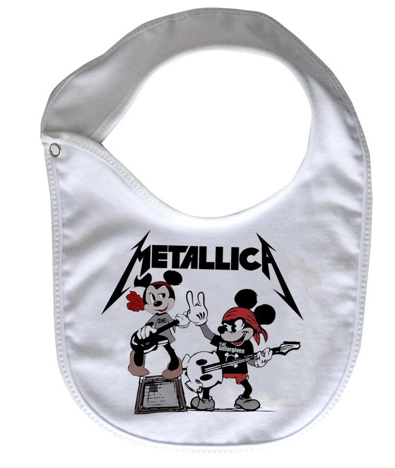 Babador  Rock Baby  - Metallica Mickey - White  - Baby Monster S/A