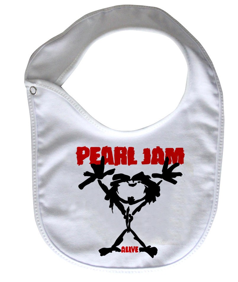 Babador  Rock Baby  -  Pearl Jam - White - Baby Monster - Body Bebe