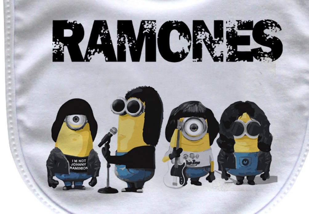 Babador  Rock Baby  - Ramones Minions D- White  - Baby Monster - Body Bebe