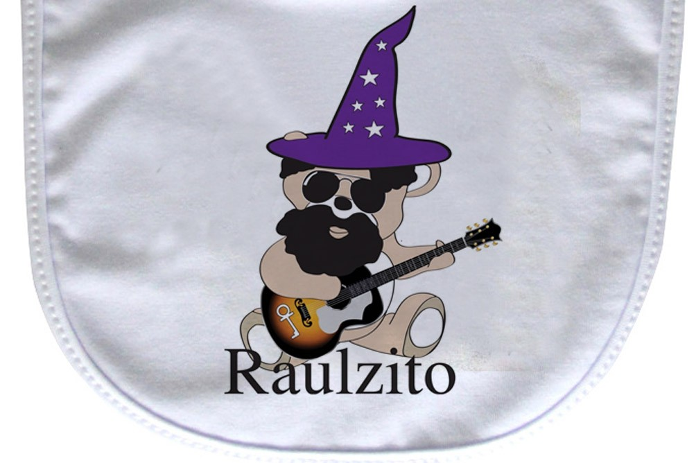 Babador  Rock Baby  - Raul Seixas Ursinho - White  - Baby Monster S/A