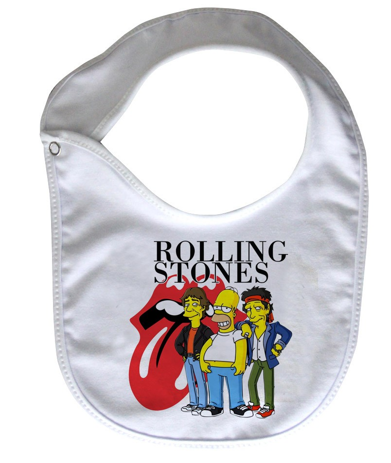 Babador  Rock Baby  - Rolling Stones simpsons - White  - Baby Monster S/A