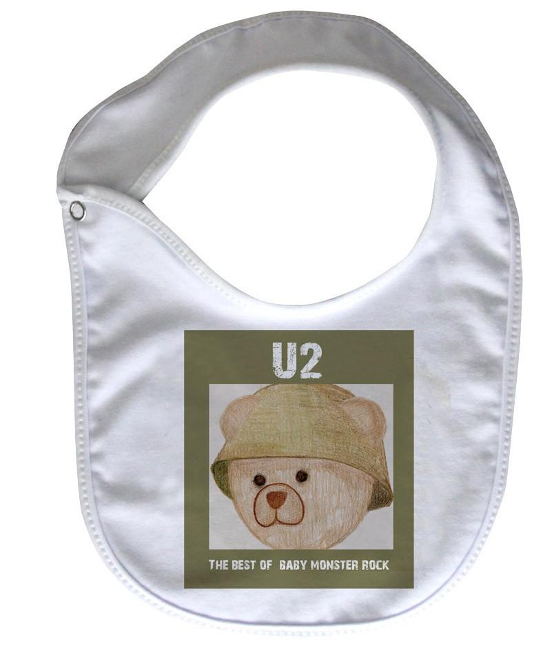Babador  Rock Baby  -  U2 Ursinho - White  - Baby Monster - Body Bebe