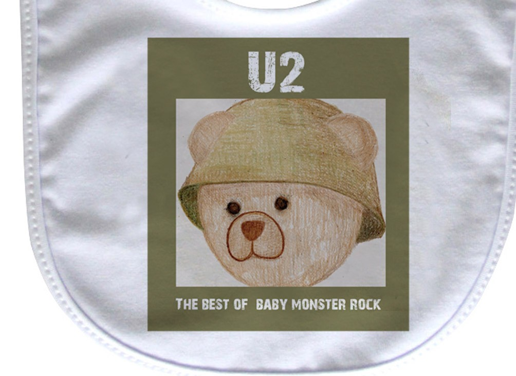 Babador  Rock Baby  -  U2 Ursinho - White  - Baby Monster S/A