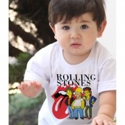 Camiseta Infantil  Rock Stones / Simpsons - White