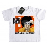 Camiseta Infantil Rock n Roll - Dylan Like a Rolling Stone - White