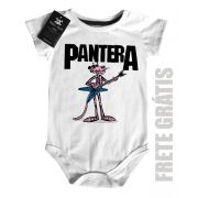 Body  Baby Pantera Cor de Rosa Rock  - White
