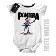 Body  Baby Pantera Cor de Rosa Rock  - White