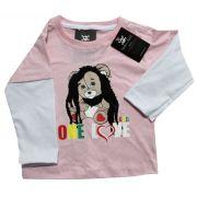 Camiseta  Bob Marley - Rosa - Manga Longa