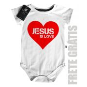 Body Bebe Cristão Jesus Heart  - White -