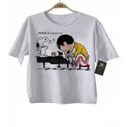 Camiseta Infantil  Snoopy Queen Fredd Mercury Anime 3d - White