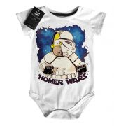Body Bebe Filmes Homer Star Wars - White - Nerd/Geek