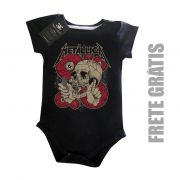 Body Bebê Rock Metallica - Black Skull - Black