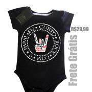 Body Eu Curto Rock com o Papai - Black