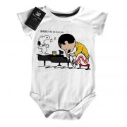 Body Rock Baby Freddy Mercury Queen Snoopy Caricato - White