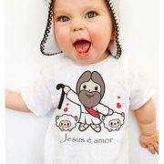 Camiseta  Bebe Cristã Jesus é amor - White
