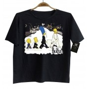 Camiseta de Rock Infantil - Beatles - SImpsons - Black