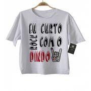 Camiseta de Rock Infantil -  Eu curto Rock com o dindo - White