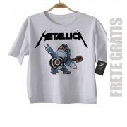 Camiseta de Rock Infantil - Metallica stitch - White