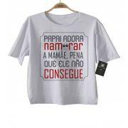 Camiseta Divertida Bebê - Papai adora namorar a mamae - White