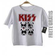 Camiseta Infantil de  Rock - Kiss - Panda - White