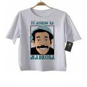 Camiseta  Infantil Divertida - Eu acordo na madruga - White