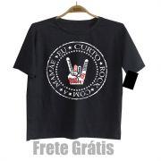 Camiseta Infantil Eu Curto Rock com a Mamãe - Black