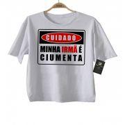 Camiseta Infantil Frases Bebe Minha Irmã é Ciumenta  - White