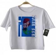 Camiseta Infantil  Free Hugs  Pequena Sereia -  Abraço de Super Vilão - White