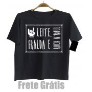Camiseta Infantil Rock - Leite Fraldas e Rock n Roll  - Manga Curta