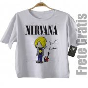 Camiseta Infantil rock   Nirvana - Kurt CUTE - White