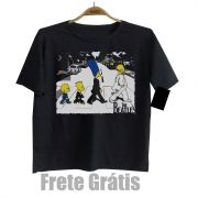 Camiseta Infantil Rock - The Beatles Simpsons  - Black