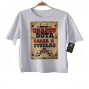 Camiseta Infantil Sertanejo - Chapéu, Bota e Calça-  White