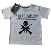 Camiseta Kids Infantil de Rock Iron Life and Death - White