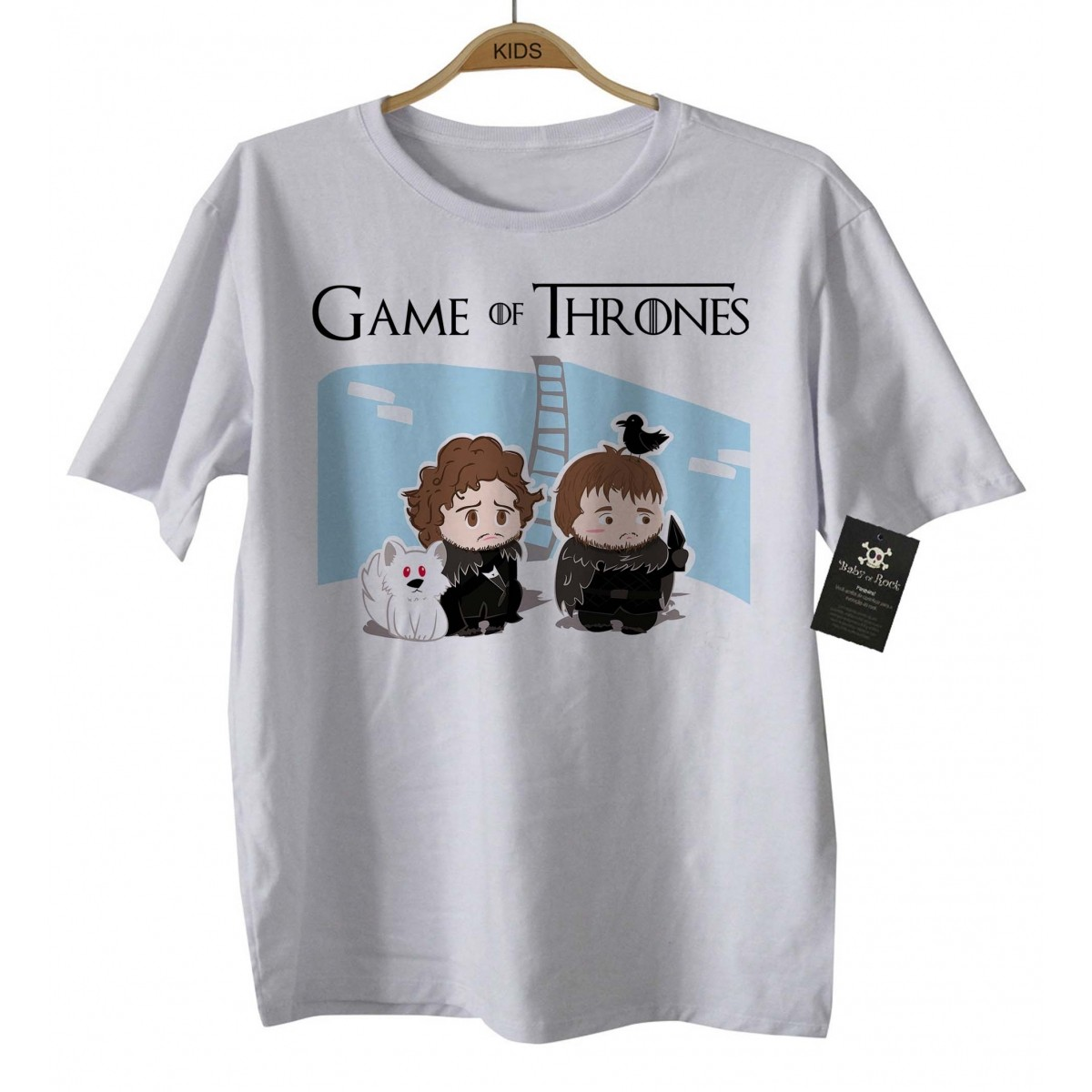Camiseta de Filme - Infantil - Game of Thrones - White  - Baby Monster - Body Bebe
