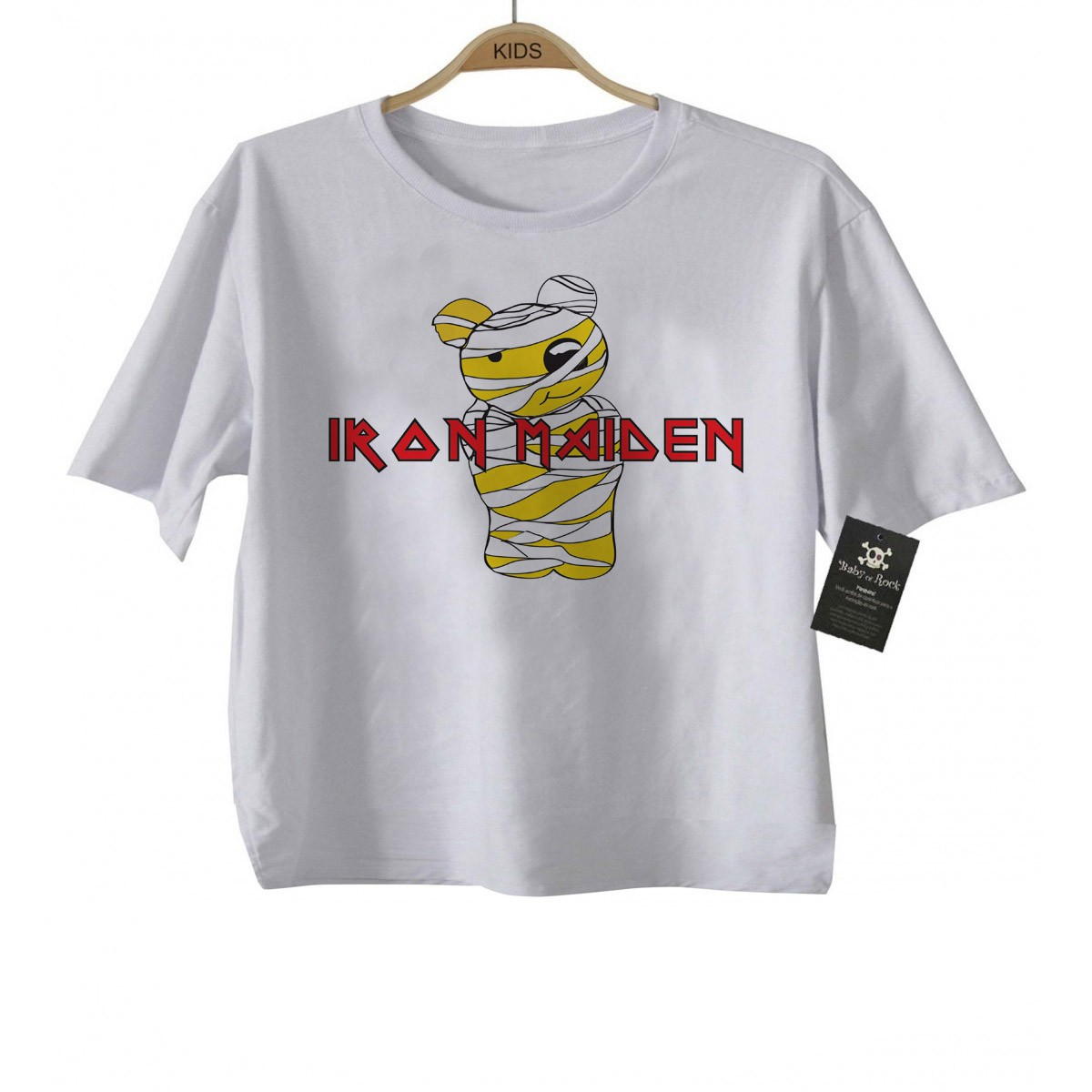 Camiseta de Rock Infantil -  Iron Maiden  - Cute - White  - Baby Monster - Body Bebe