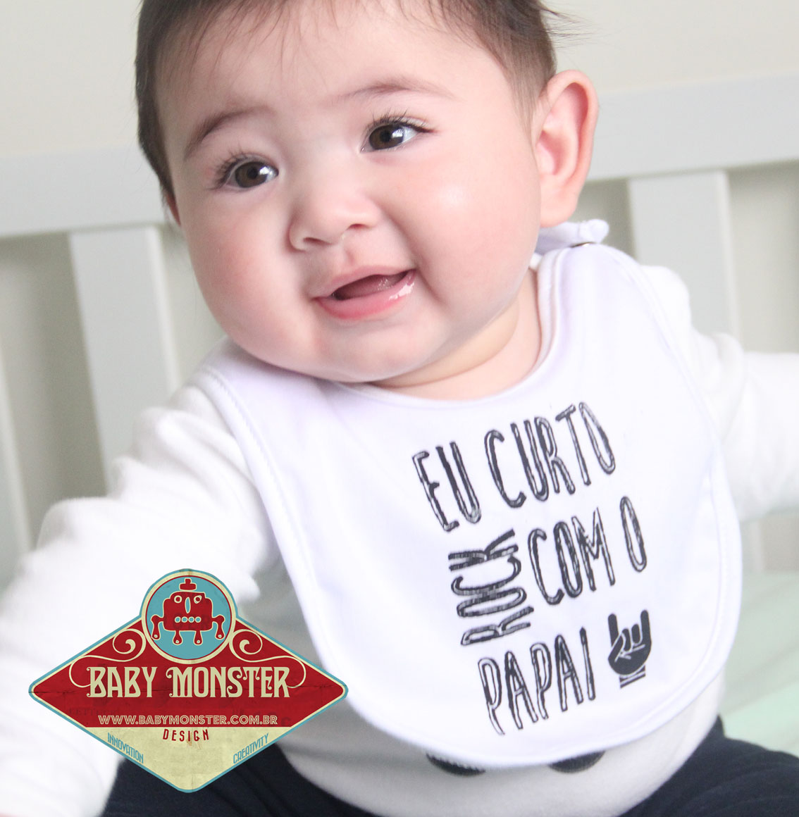 Babador Baby Rock - Eu curto Rock com o Papai - White - Baby Monster - Body Bebe