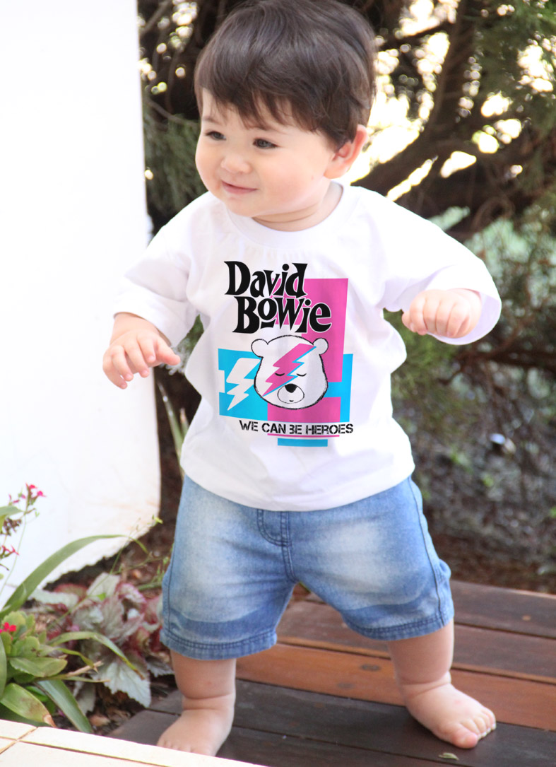 Camiseta  Infantil Rock - David Bowie - White  - Baby Monster - Body Bebe