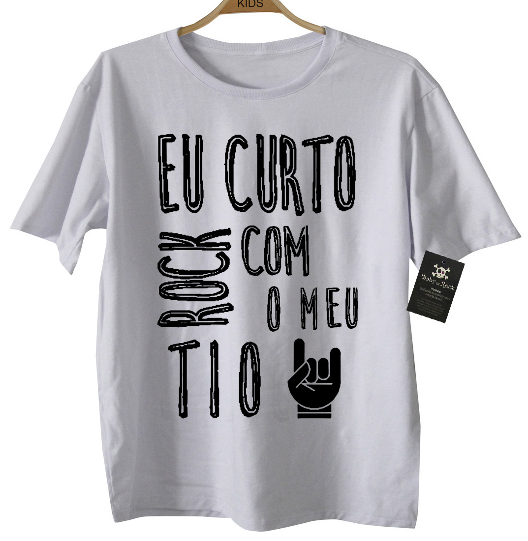 Camiseta de Rock Infantil -  Eu curto Rock com O meu TIO - White  - Baby Monster S/A