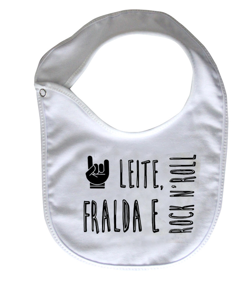Babador Baby Rock - Leite Fraldas e Rock n roll - White  - Baby Monster - Body Bebe