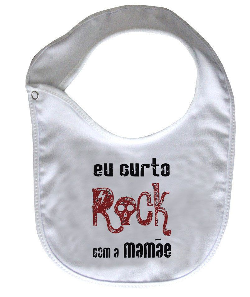 Babador Baby Rock - Eu Curto Rock com a Mamãe - White  - Baby Monster S/A