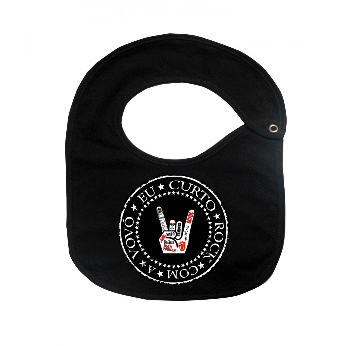 Babador  Rock Baby  - Eu curto rock com a Vovó - Black  - Baby Monster S/A