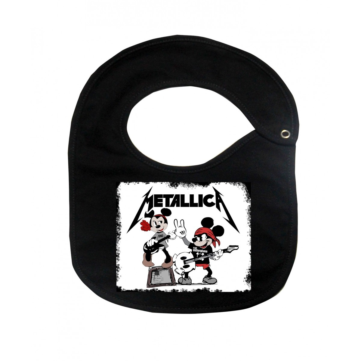 Babador  Rock Baby  - Metallica Mickey - Black  - Baby Monster - Body Bebe