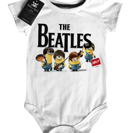 Body Bebê Baby Monster  Rock  Infantil Beatles - Minions - White  - Baby Monster S/A