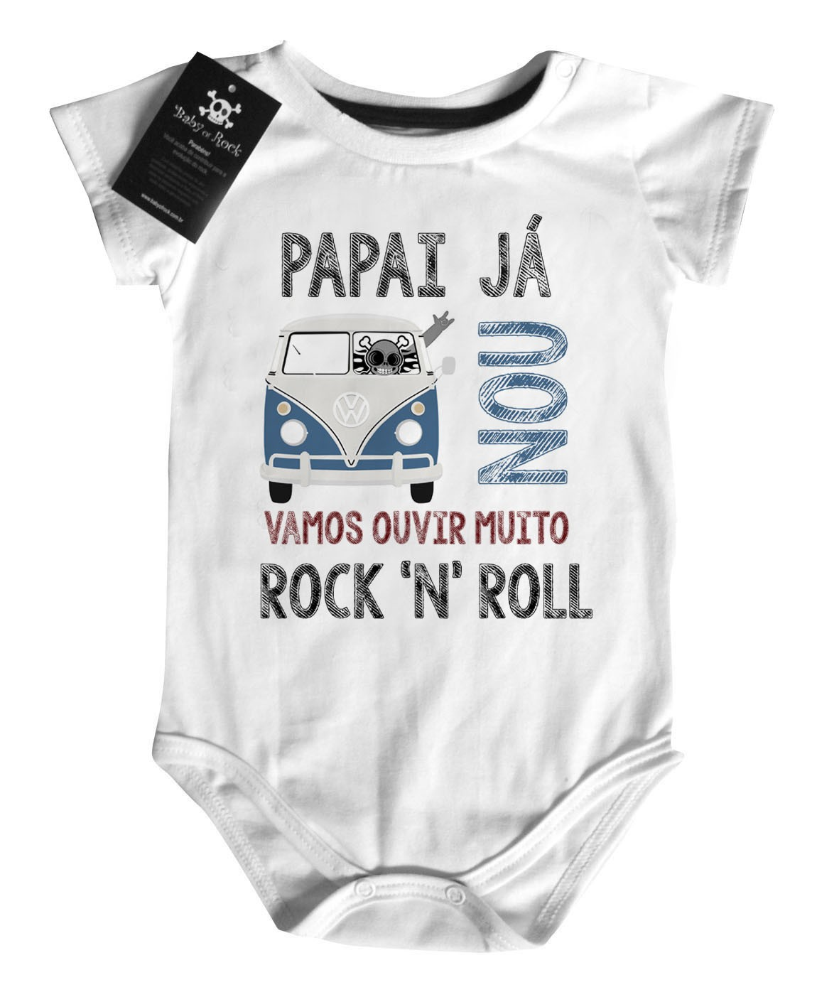 Body Baby Rock - Papai ja kombinou- White  - Baby Monster - Body Bebe