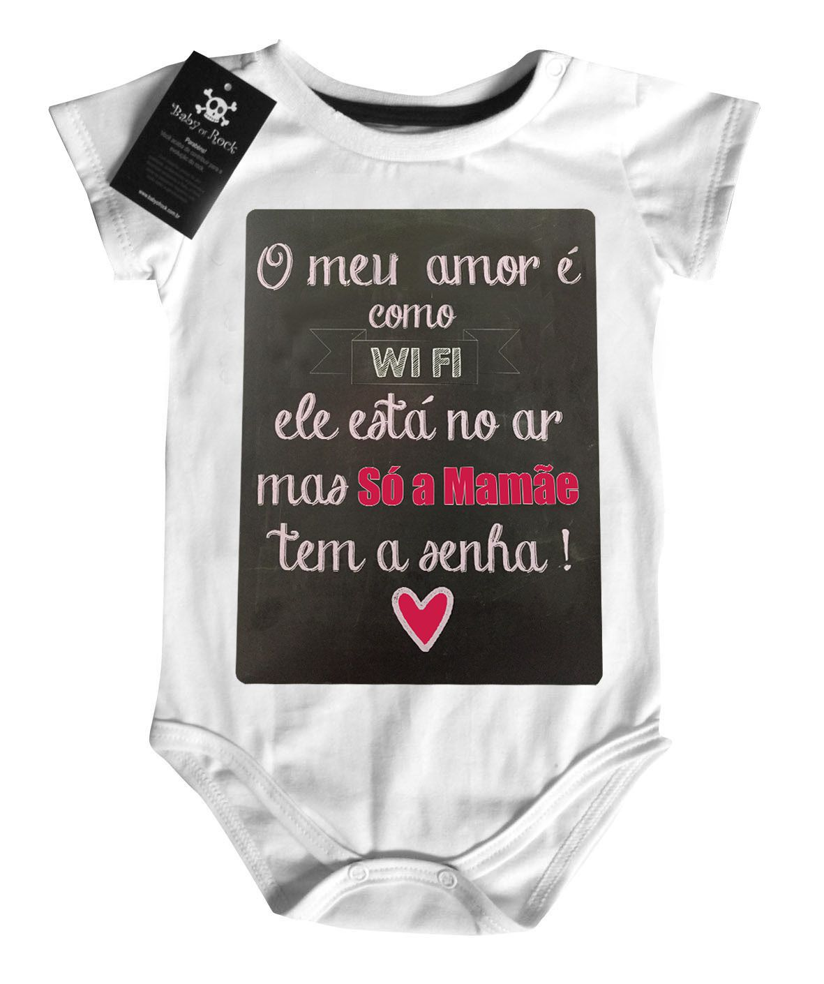 Body   Amor wifi Mamãe- White  - Baby Monster - Body Bebe